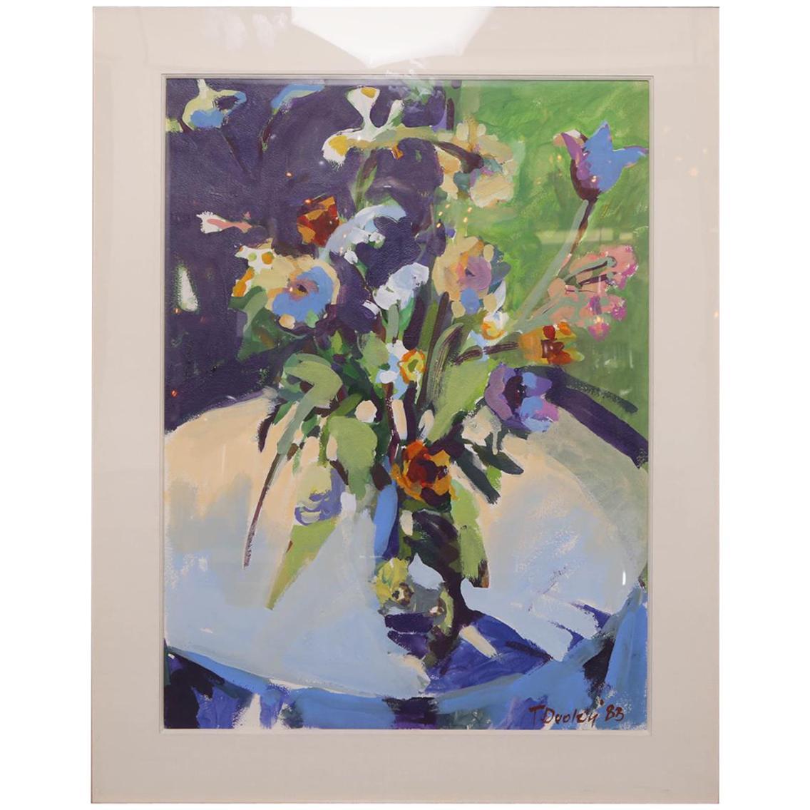 Postmodern Framed Still Life of a Floral Arrangement Signed T. Dooley