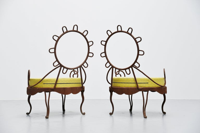 Very nicely shaped garden chairs with sun shaped backrests. Designed and manufactured by unknown designer or manufacturer but in the style of Elisabeth Garouste and Mattia Bonetti. The chairs are made of solid steel frames, rusty. And the cushions