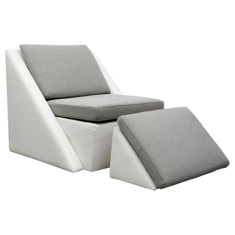 Postmodern Geometric Chair and Ottoman by Thayer Coggin For Sale