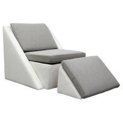Postmodern Geometric Chair and Ottoman by Thayer Coggin