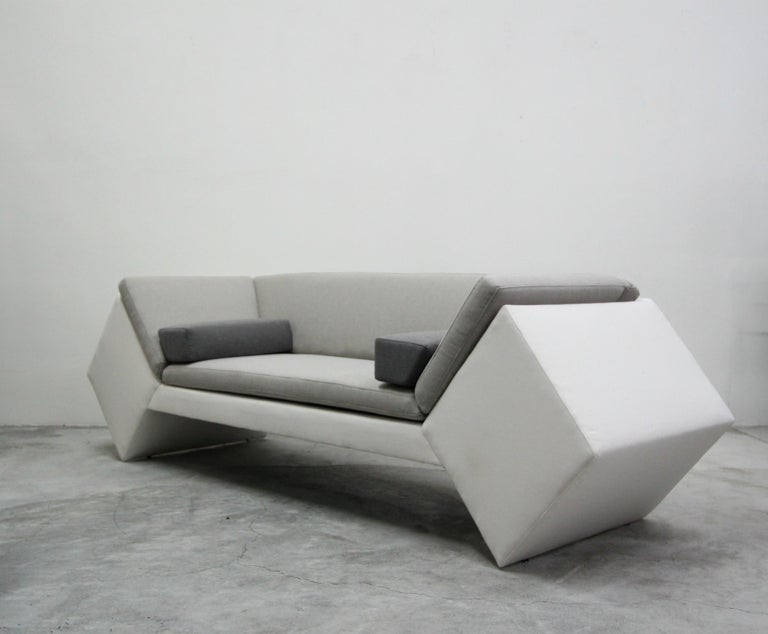 Mid-Century Modern Postmodern Geometric Sofa and Chair with Ottoman Set by Thayer Coggin For Sale