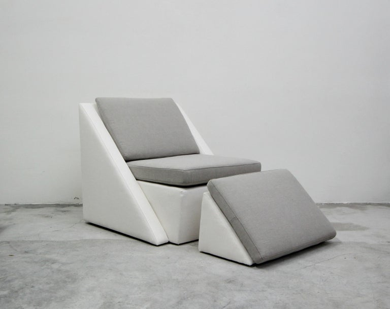 Fabric Postmodern Geometric Sofa and Chair with Ottoman Set by Thayer Coggin For Sale