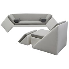 Postmodern Geometric Sofa and Chair with Ottoman Set by Thayer Coggin
