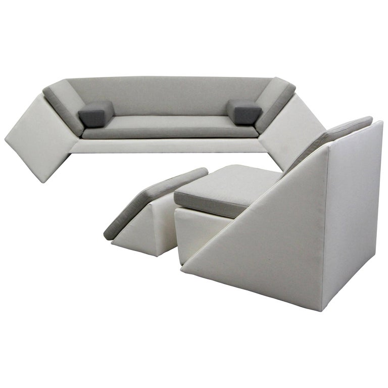 Postmodern Geometric Sofa and Chair with Ottoman Set by Thayer Coggin For Sale