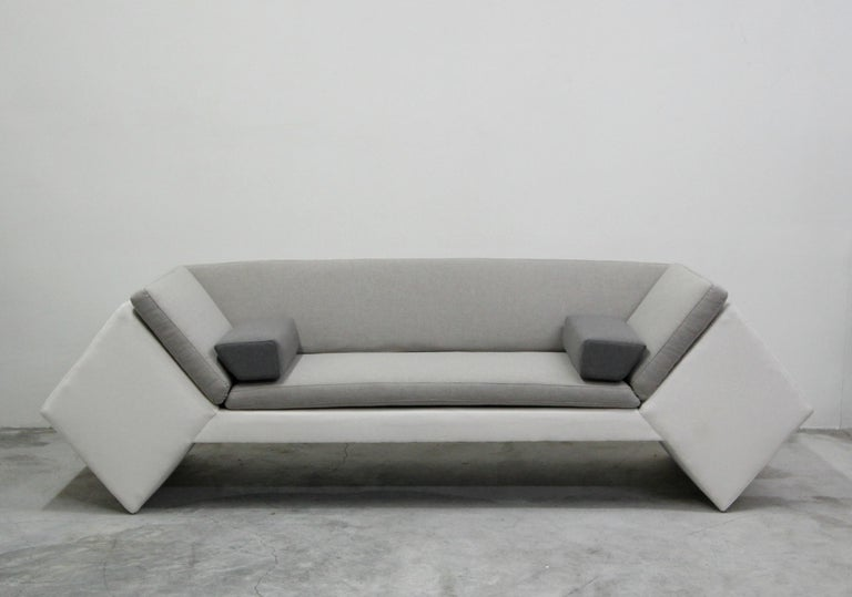 Rare geometric sofa, with a very postmodern feel. Love the linear lines and shapes that this unique piece has. Never seen anything like it.  Manufactured by Thayer Coggin (tagged) and designed by David Snyder.  Professionally reupholstered with