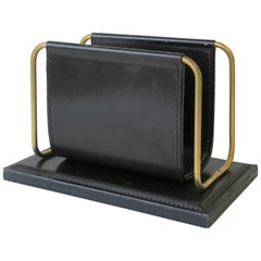 Postmodern German Black Leather and Brass Desk Letter Holder Organizer