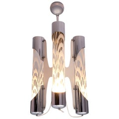 Postmodern Glass and Chrome Chandelier