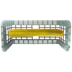 "Postmodern Glass Block ""Rion"" Loveseat Sofa"
