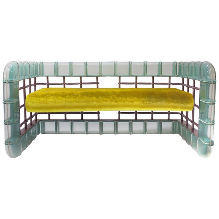 "Postmodern Glass Block ""Rion"" Loveseat Sofa For Sale"