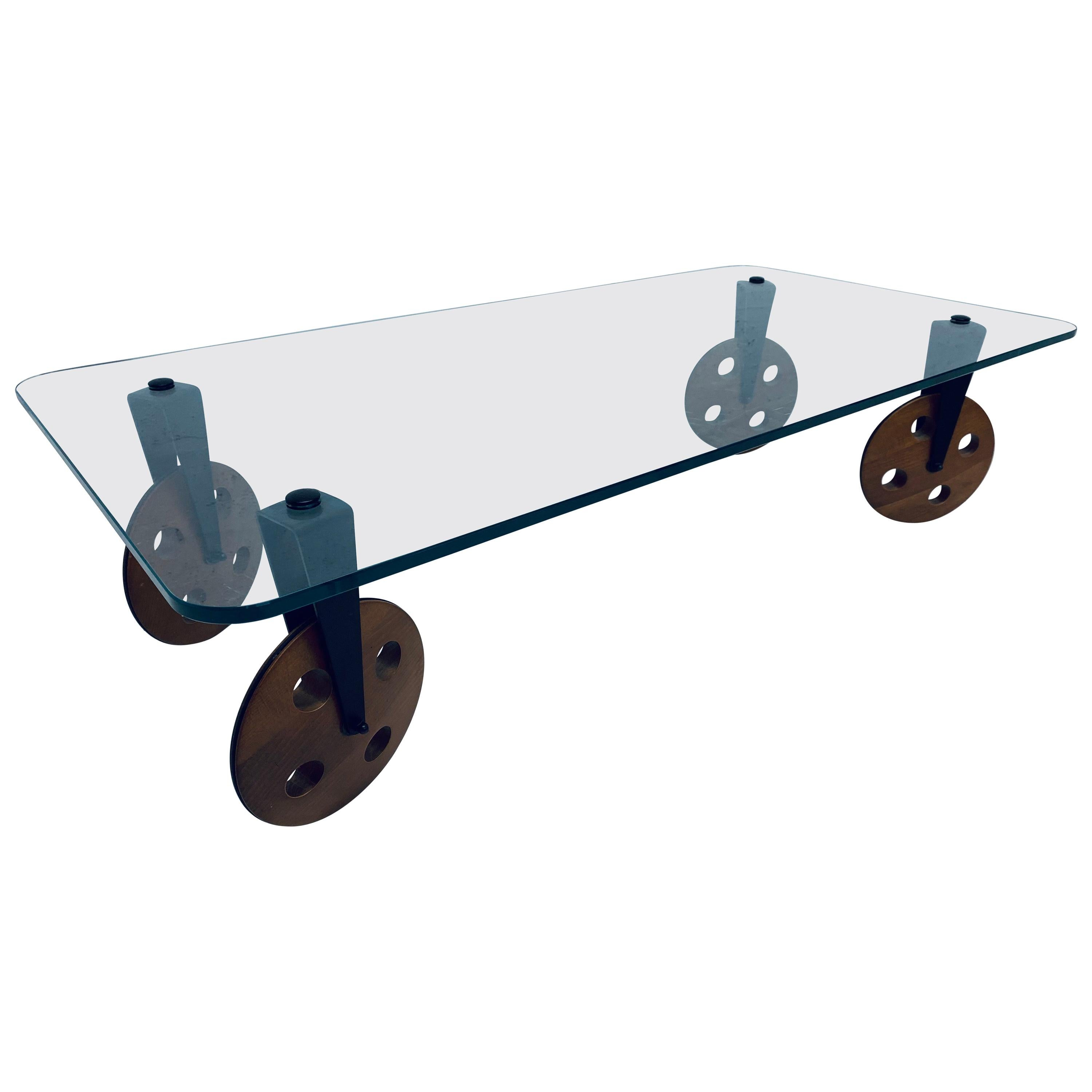 Postmodern Glass Coffee Table on Wheels After Gae Aulenti, 1980s