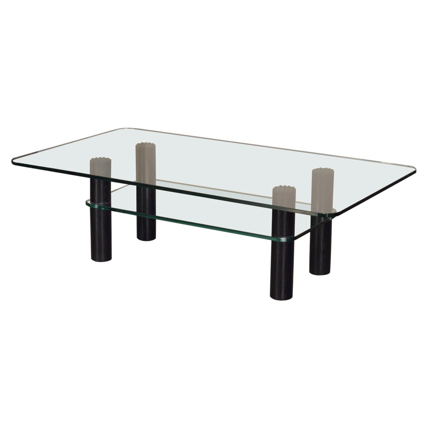 Alessi Post-Modern Glass, Wood, and Rubber Coffee Table c. 1980's