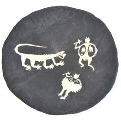 Postmodern Hand Thrown Ceramic Decorative Bowl or Platter