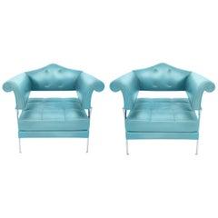 Postmodern Hydra Enif Blue Leather Armchair Luca Scacchetti for Poltrona Frau