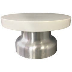 Postmodern Industrial Lighted Coffee Table in Brushed Aluminum and Acrylic