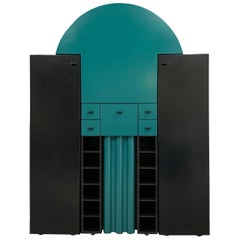 Postmodern Interlübke Teal and Black Bar Cabinet Wall Unit from Germany, 1970s