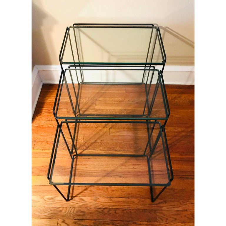 """French Postmodern """"Isocele"""" Sculptural Iron Nesting Tables by Max Sauze for Attrow"""