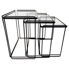 "Postmodern ""Isocele"" Sculptural Iron Nesting Tables by Max Sauze for Attrow"