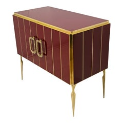 Postmodern Italian Bar Cabinet Burgundy Red Glass and Brass