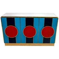 Postmodern Italian Bar Sideboard Colored Glass and Brass, 1980s