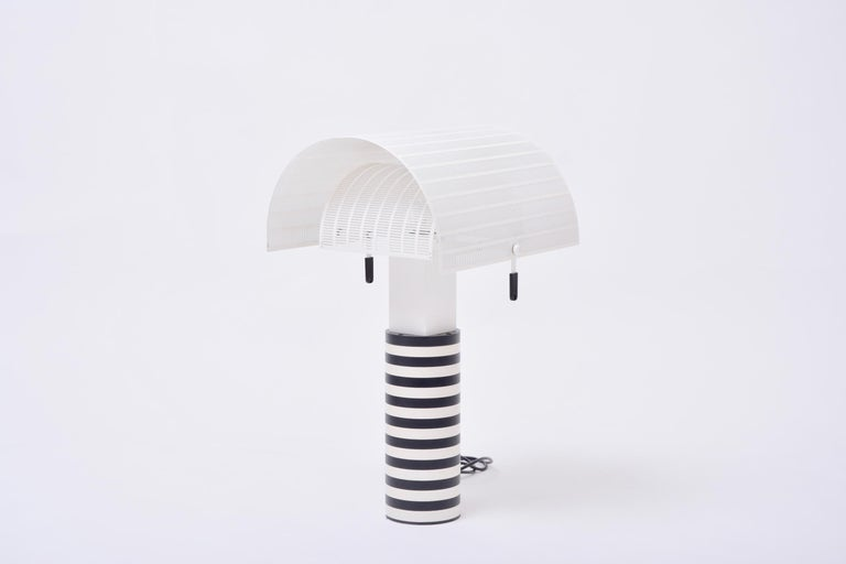 20th Century Postmodern Italian Black and White Table Lamp 'Shogun' by Mario Botta for Artemi For Sale