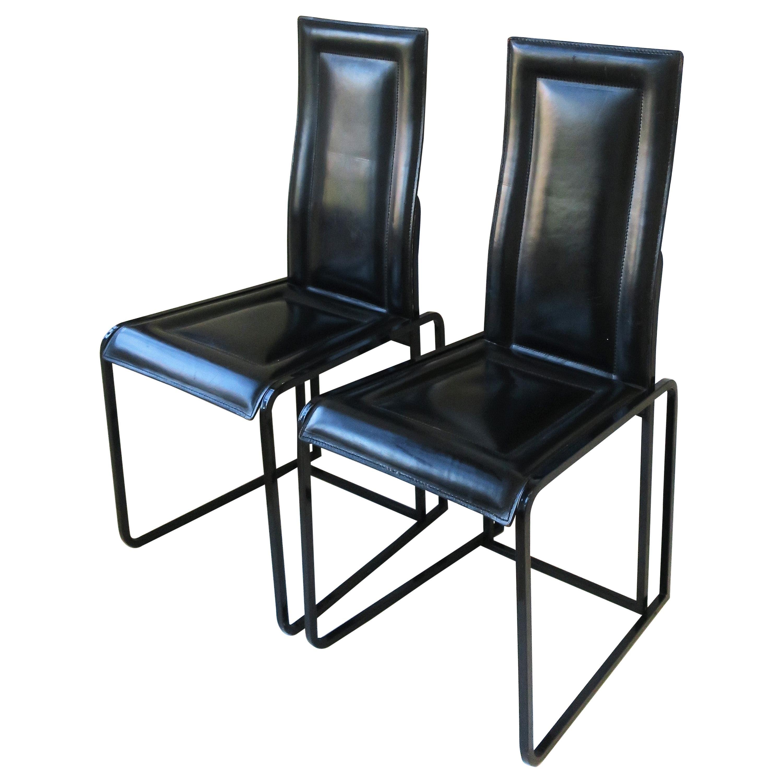 Postmodern Italian Black Leather Chairs Pair, circa 1970s, Italy
