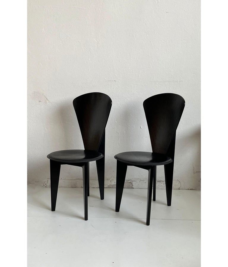 Postmodern Italian Calligaris Dining Chairs, Black Leather and Wood, 1980s For Sale 1