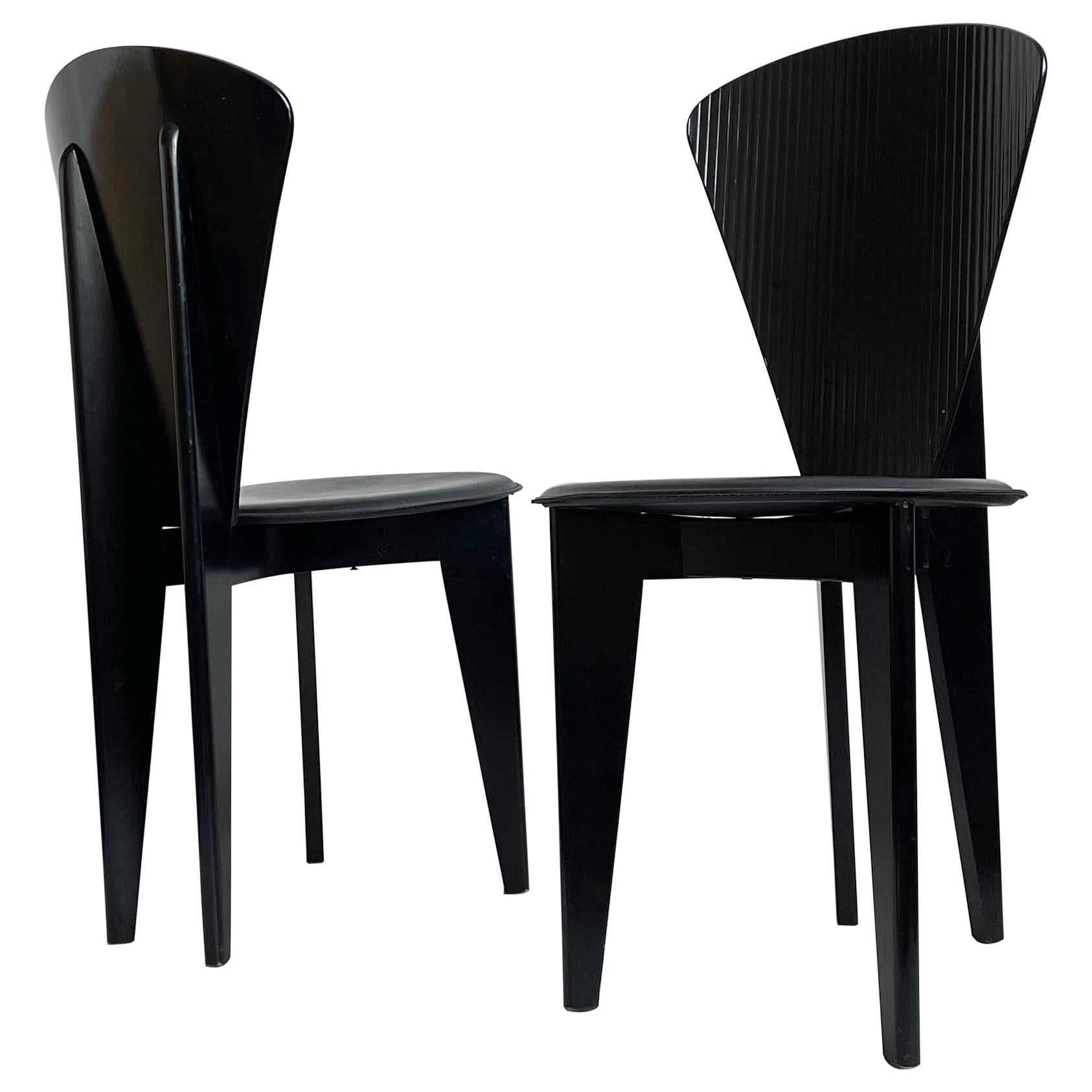 Postmodern Italian Calligaris Dining Chairs, Black Leather and Wood, 1980s