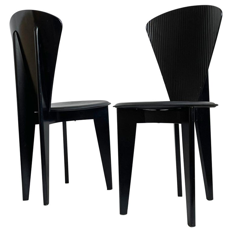 Postmodern Italian Calligaris Dining Chairs, Black Leather and Wood, 1980s For Sale
