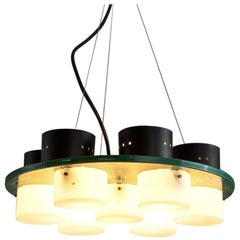Postmodern Italian Ceiling Light with Six Shades