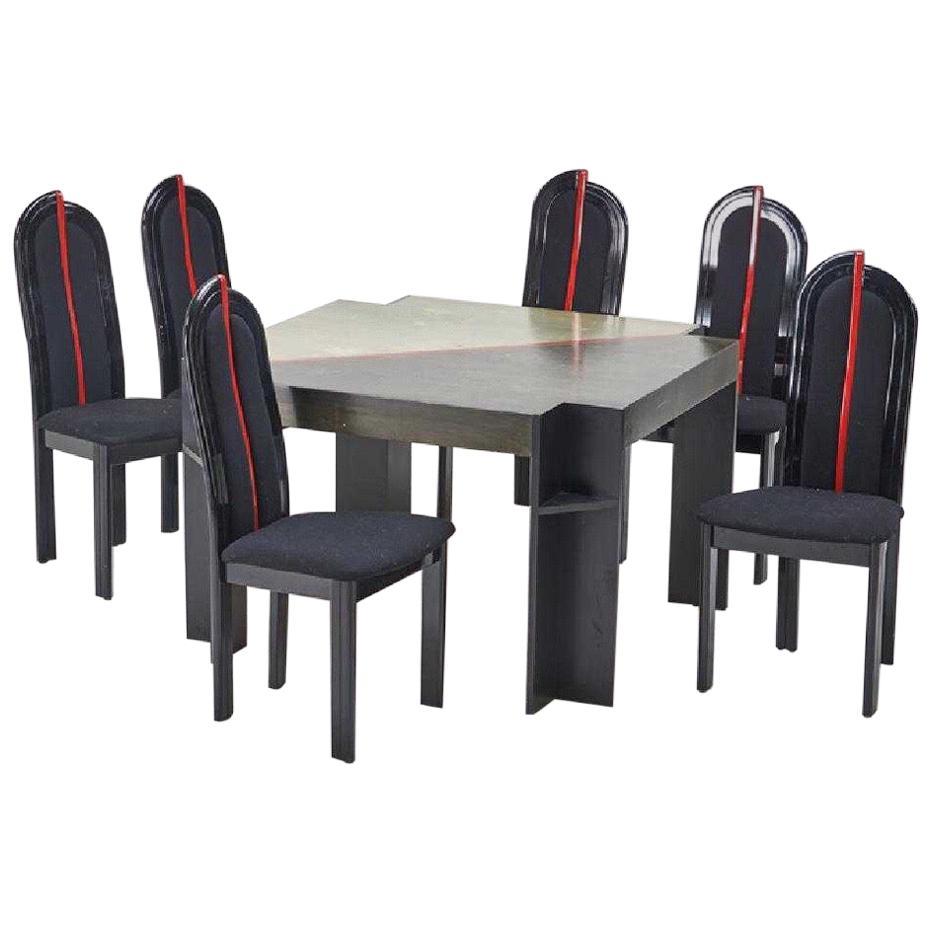 Postmodern Italian Custom Dining Set Game Table Black U0026 Red 1990s Memphis