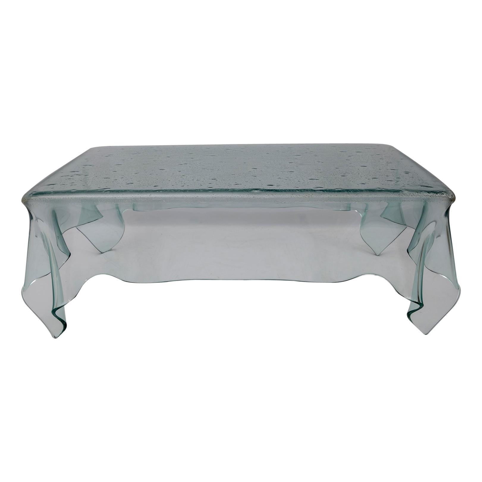 Postmodern Italian Handkerchief Crystal Coffee Table, 1980s