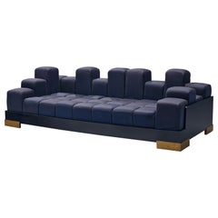 Postmodern Italian 'Manhattan Skyline' Sofa in Blue Upholstered Cubes
