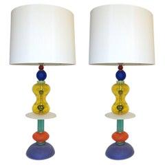 Postmodern Italian Memphis Design Yellow Red Green Blue White Murano Glass Lamps