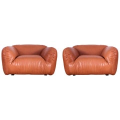 Postmodern Italian Natural Leather Lounge Chairs
