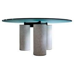 Postmodern Italian Round Glass Top Dining Table by Lella and Massimo Vignelli