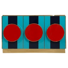Postmodern Italian Sideboard Colored Glass and Brass