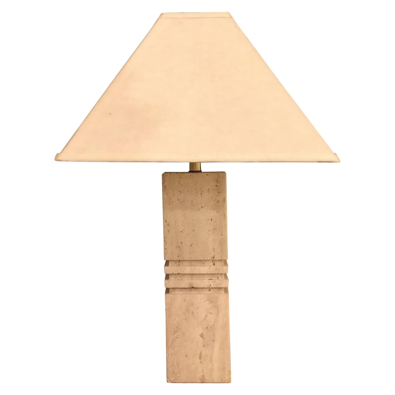 Postmodern Italian Solid Travertine Table Lamp