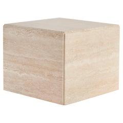 Postmodern Italian Travertine Cube Side Table