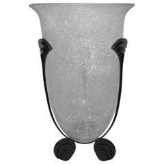 Postmodern Karl Springer Seguso Glass Vase with Bronze Feet