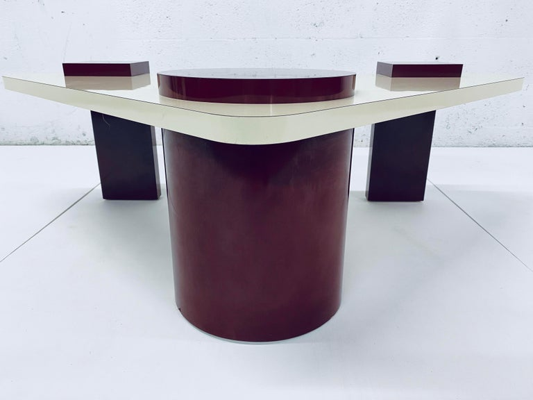 Red and cream laminate coffee table from the 1980s.