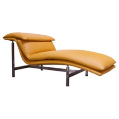 "Postmodern Leather ""Wave"" Chaise by Giovanni Offredi for Saporiti"