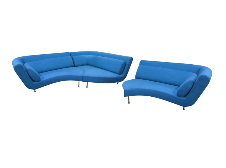 French Postmodern Ligne Roset Yang Modular Sofa Sectional, 3 Sections, Cerulean Blue For Sale