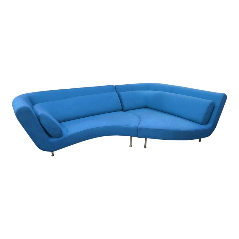 Contemporary Postmodern Ligne Roset Yang Modular Sofa Sectional, 3 Sections, Cerulean Blue For Sale