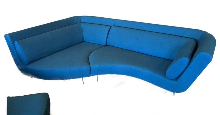 Textile Postmodern Ligne Roset Yang Modular Sofa Sectional, 3 Sections, Cerulean Blue For Sale