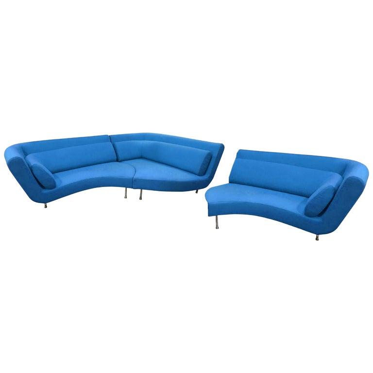 Postmodern Ligne Roset Yang Modular Sofa Sectional, 3 Sections, Cerulean Blue For Sale