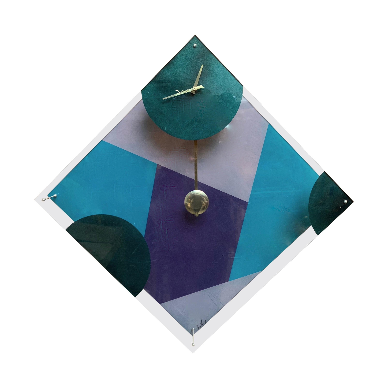 Postmodern Lucite Wall Clock