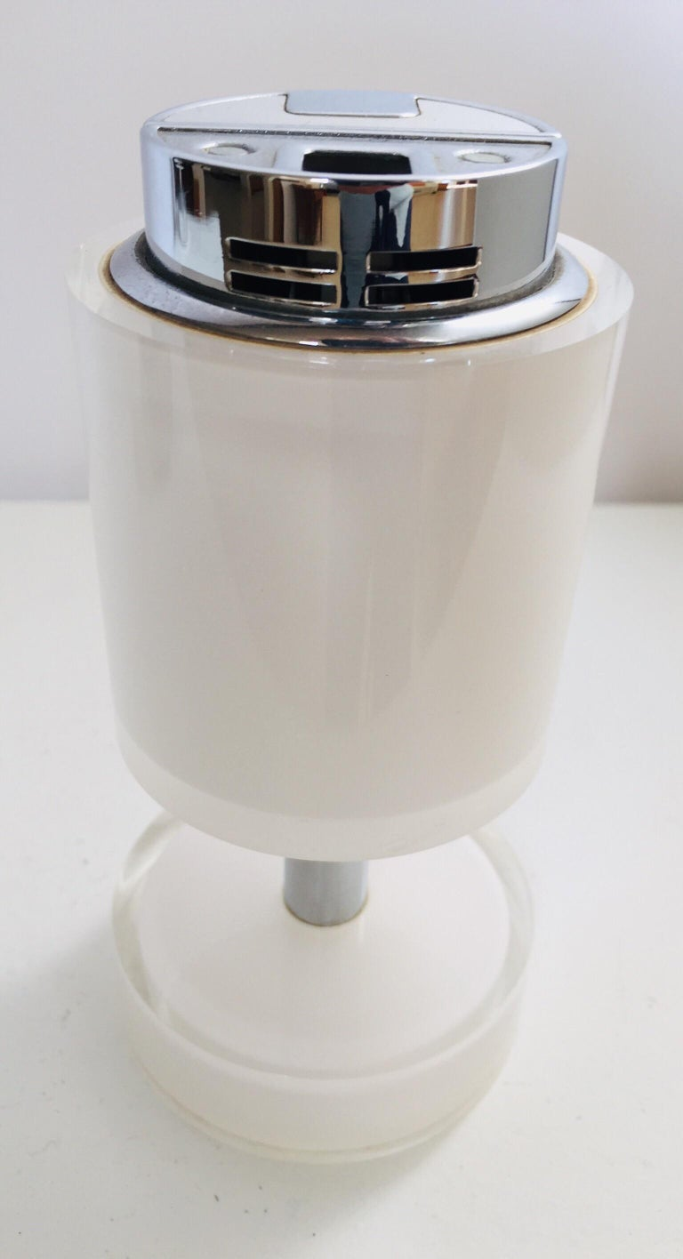 Postmodern Lucite White Table Lighter, Germany For Sale 12