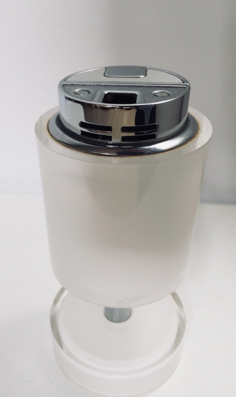 French Postmodern Lucite White Table Lighter, Germany For Sale