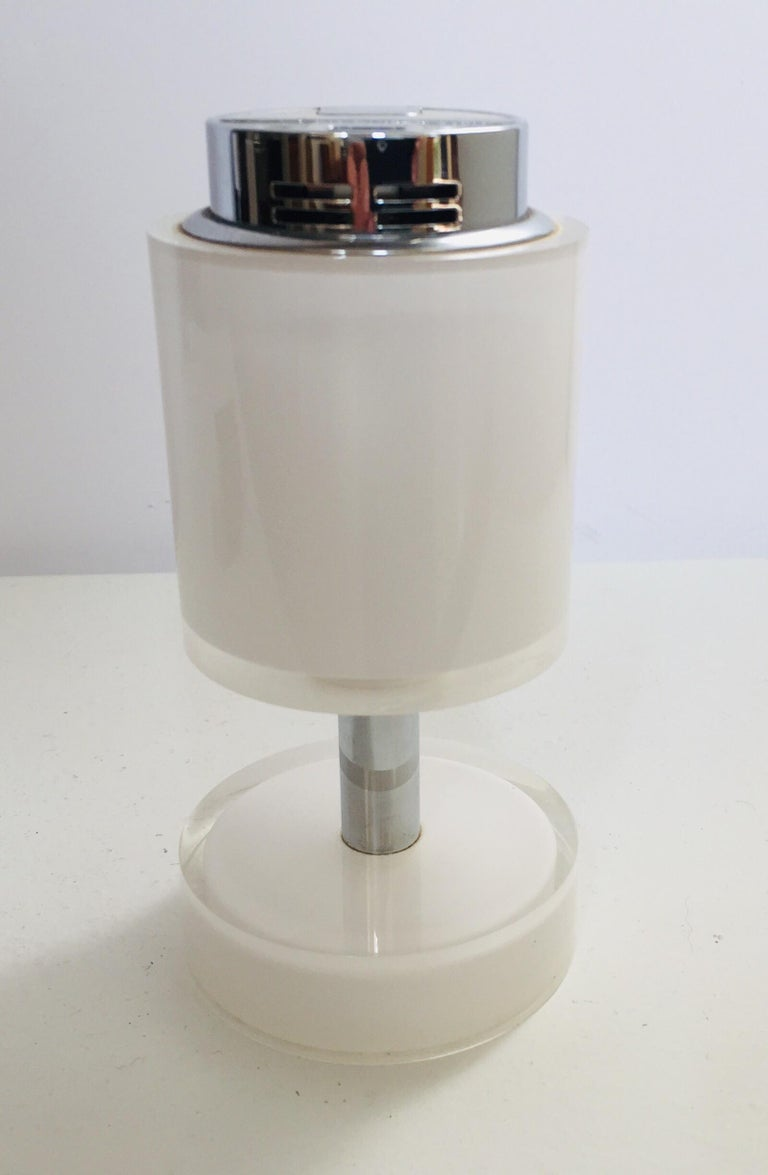 20th Century Postmodern Lucite White Table Lighter, Germany For Sale