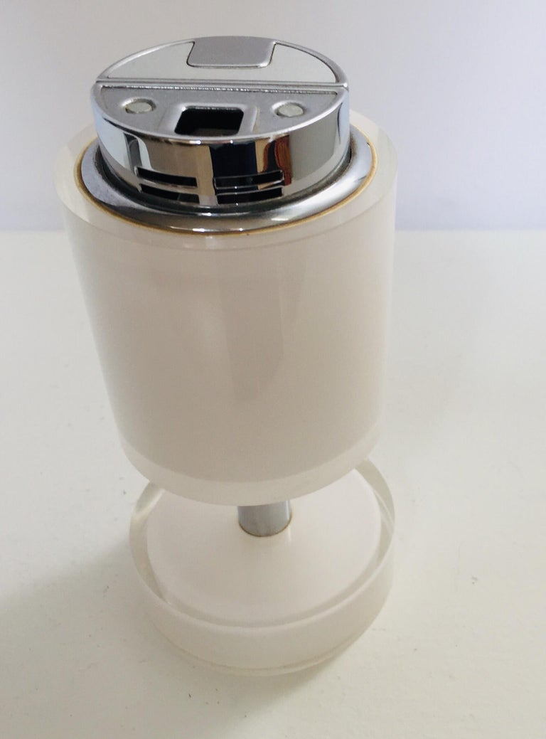 Postmodern Lucite White Table Lighter, Germany For Sale 1